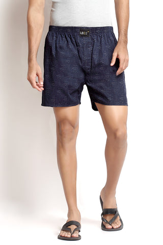 Navy Blue Cotton Printed Boxers MLB0117