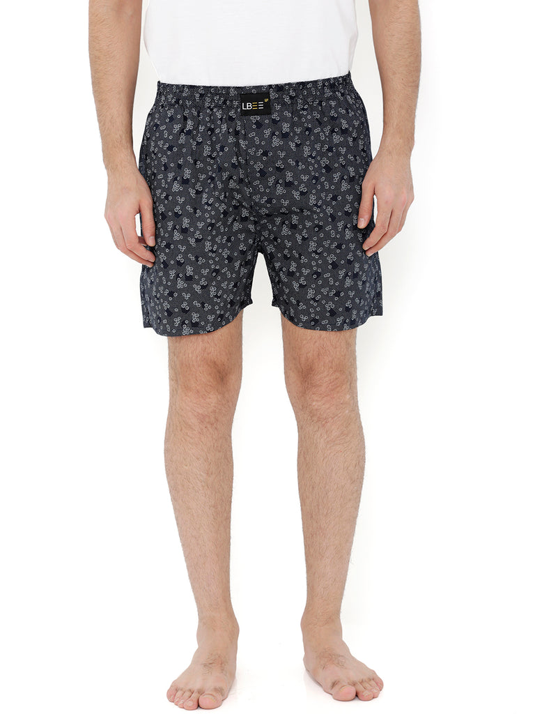 Navy Blue Cotton Printed Boxers