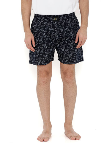 Navy Blue Cotton Printed Boxers MLB0121