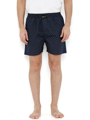 Navy Blue Cotton Printed Boxers MLB0122