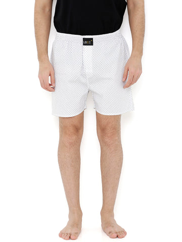 White Cotton Printed Boxers MLB0123