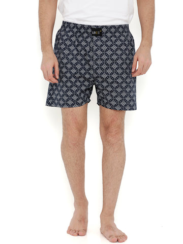 Navy Blue Cotton Printed Boxers MLB0126
