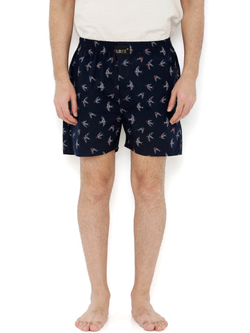 Navy Blue Cotton Bird Printed Boxers MLB0131