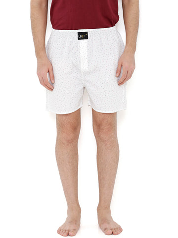 White Cotton Printed Boxers MLB0137
