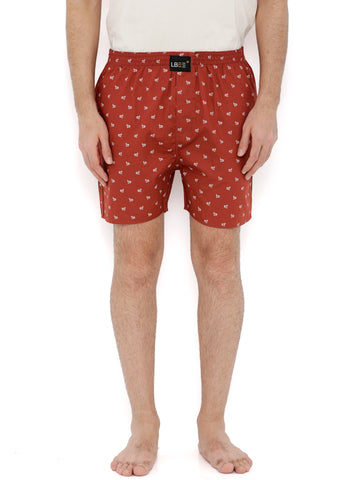 Brown Cotton Printed Boxers MLB0141