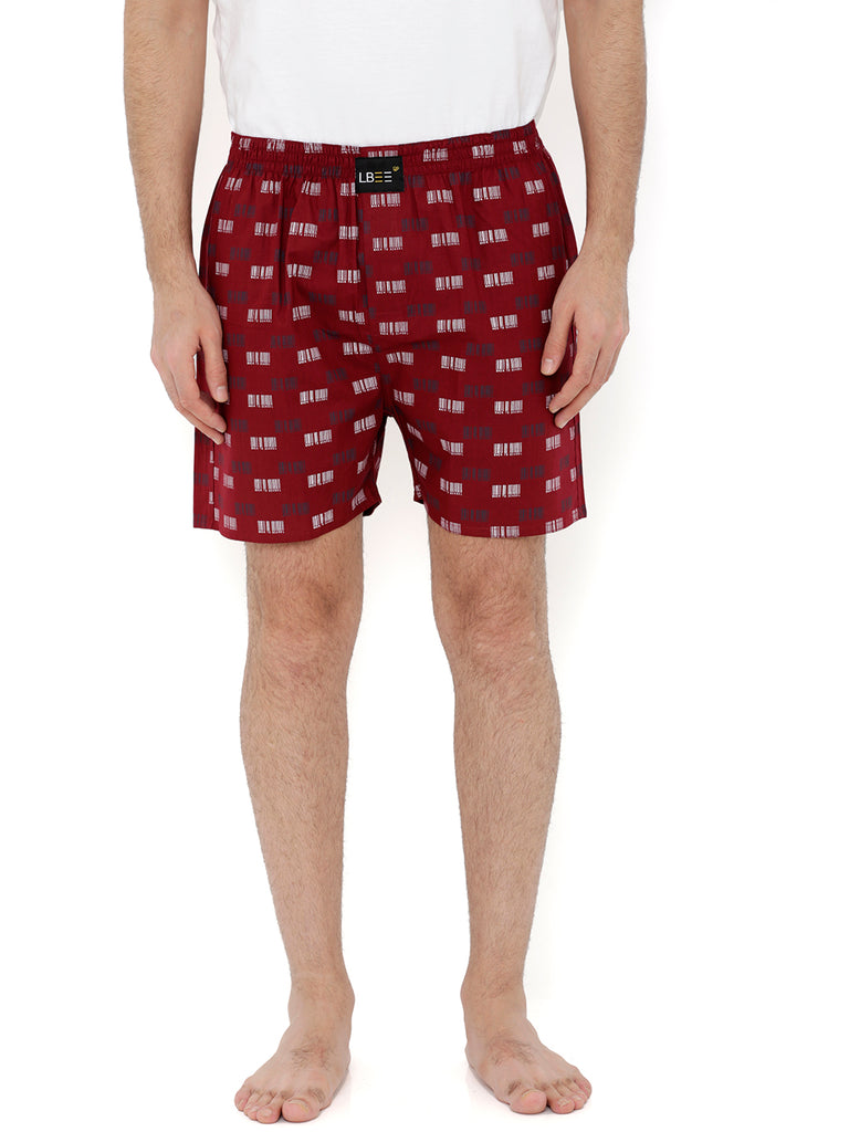 Maroon Cotton Printed Boxers