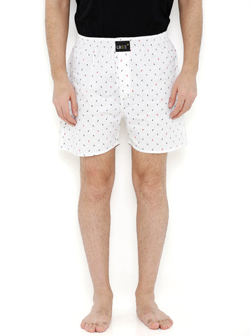 White Cotton Printed Boxers MLB0149
