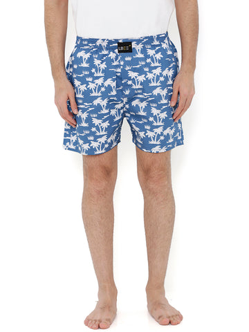 Blue Cotton Coconut Tree Printed Boxers MLB0150