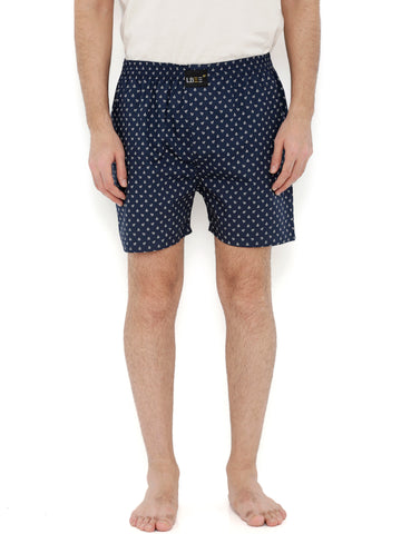 Navy Blue Cotton Printed Boxers MLB0160