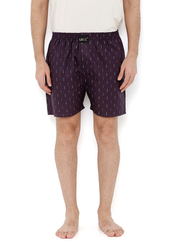 Purple Cotton Arrow Printed Boxers MLB0167
