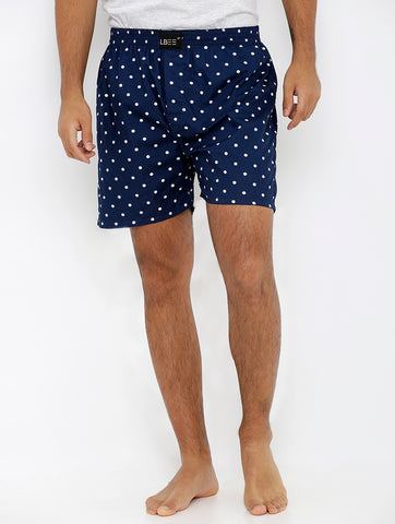 Navy Blue Cotton Printed Boxers MLB0170