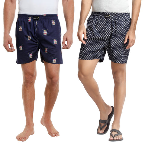 Navy Blue Cotton Printed Combo Pack Of 2 Boxers