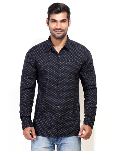 London Bee Men's Black Long Sleeve Shirt MLSLB0007