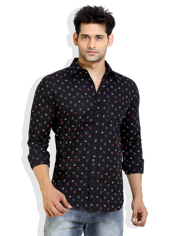 London Bee Men's Black Cotton Smile Print Long Sleeve Shirt MLSLB0010