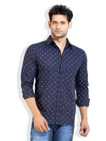London Bee Men's Navy Blue Cotton Smile Print Long Sleeve Slim Fit Shirt MLSLB0011