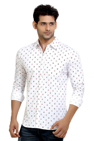 London Bee Men's White Cotton Japan Print Long Sleeve Slim Fit Shirt MLSLB0014