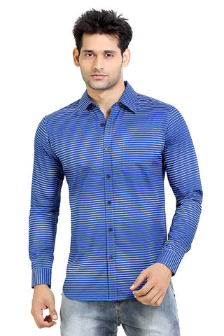 London Bee Men's Navy Blue Cotton Stripe Long Sleeve Slim Fit Shirt MLSLB0024