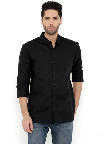 London Bee Men's Black Cotton Solid Long Sleeve Regular Fit Shirt MLSLB0116