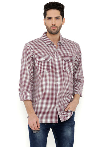 London Bee Men's Brown Cotton Checks Long Sleeve Regular Fit Shirt MLSLB0132