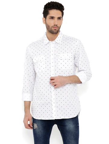 London Bee Men's White Cotton Printed Long Sleeve Regular Fit Shirt MLSLB0140
