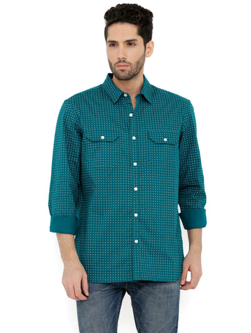 London Bee Men's Green Cotton Printed Long Sleeve Regular Fit Shirt MLSLB0143