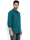 London Bee Men's Green Cotton Printed Long Sleeve Regular Fit Shirt