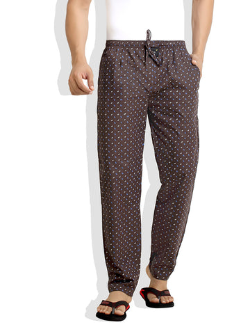 London Bee Men's Brown Cotton Leaf Printed Pyjama MPLB0045