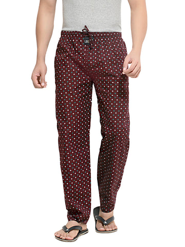 London Bee Men's Burgundy Cotton Butterfly Printed Pyjama MPLB0047