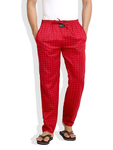London Bee Men's Red Cotton Pin Printed Pyjama MPLB0057