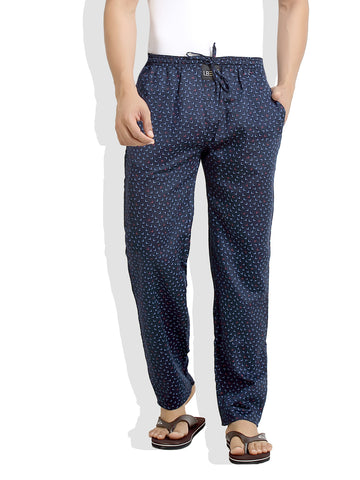 London Bee Men's Navy Blue Cotton L Printed Pyjama MPLB0059
