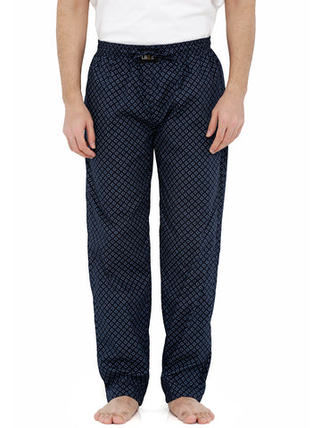 London Bee Men's Navy Blue Cotton Poplin Printed Pyjama MPLB0086