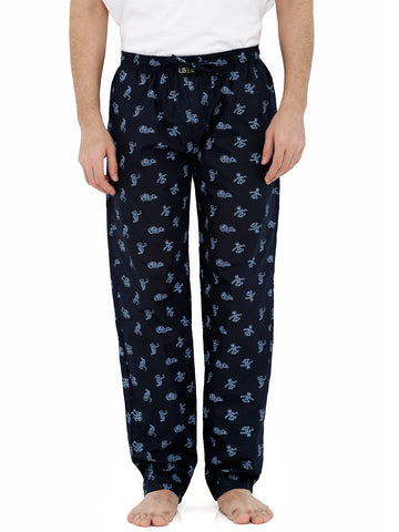 London Bee Men's Navy Blue Cotton Poplin Printed Pyjama MPLB0088