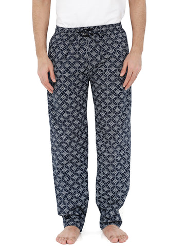 London Bee Men's Navy Blue Cotton Poplin Printed Pyjama MPLB0090