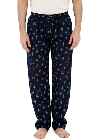 London Bee Men's Navy Blue Cotton Poplin Printed Pyjama MPLB0095