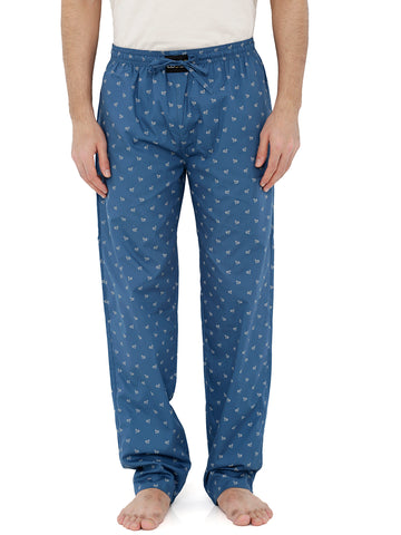 London Bee Men's Blue Cotton Poplin Printed Pyjama MPLB0099