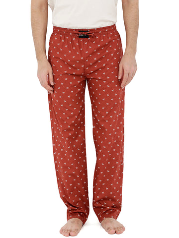 London Bee Men's Brown Cotton Poplin Printed Pyjama MPLB0100