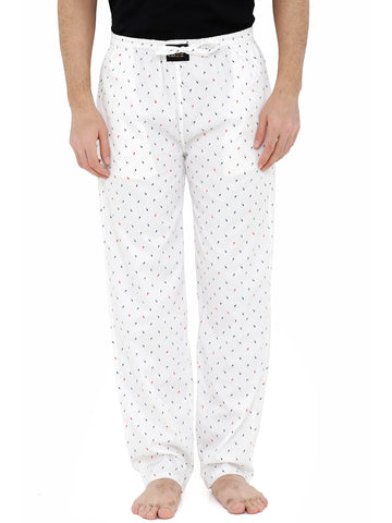 London Bee Men's White Cotton Poplin Printed Pyjama MPLB0104