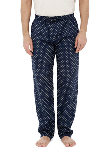 London Bee Men's Navy Blue Cotton Poplin Printed Pyjama MPLB0107