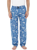 Blue Cotton Poplin Printed Pyjama