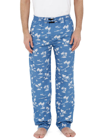 London Bee Men's Blue Cotton Poplin Printed Pyjama MPLB0108