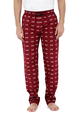 London Bee Men's Maroon Cotton Poplin Printed Pyjama MPLB0111