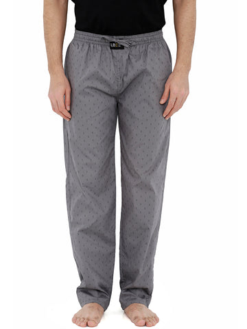 London Bee Men's Grey Cotton Poplin Printed Pyjama MPLB0113