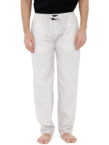London Bee Men's Off White Cotton Poplin Printed Pyjama MPLB0114