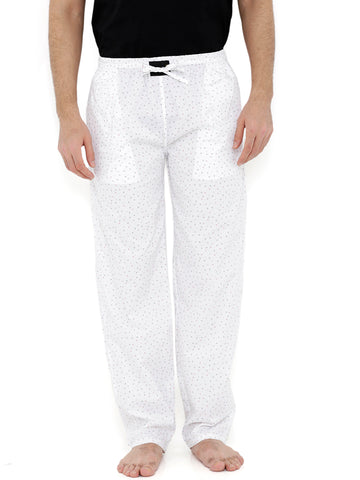 London Bee Men's White Cotton Poplin Printed Pyjama MPLB0115