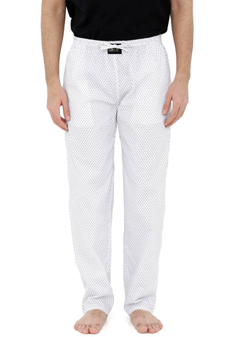 London Bee Men's White Cotton Poplin Printed Pyjama MPLB0116