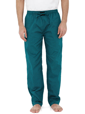 London Bee Men's Dark Green Cotton Poplin Printed Pyjama MPLB0117