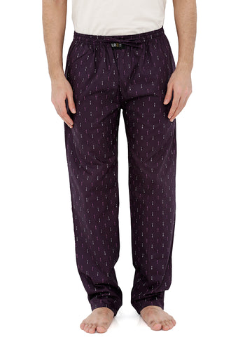 London Bee Men's Purple Cotton Poplin Arrow Printed Pyjama MPLB0119