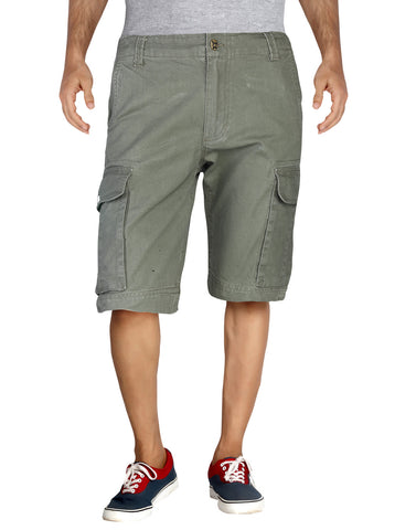 Dark Green Solid Cotton Cargo Shorts MSLB0002