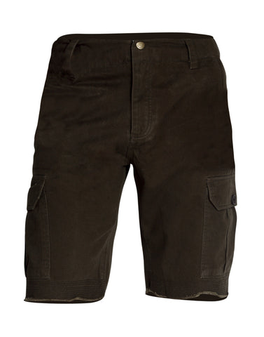 Brown Solid Cotton Cargo Shorts MSLB0016