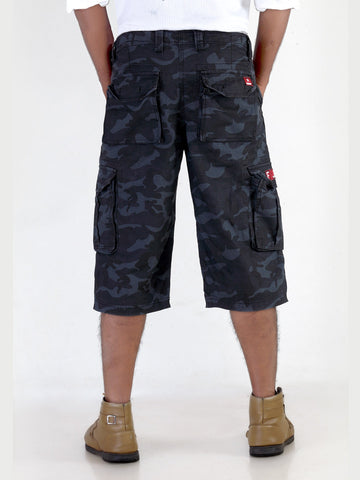Black Army Print Cotton Cargo 3/4 MSLB0031